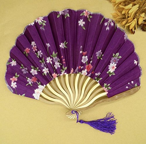 Purple 50Pcs/Lot Printed Personalized Delicate Packaging Japanese Flower Floral Fabric Folding Hand Fan Wedding Favors by Hand Fan