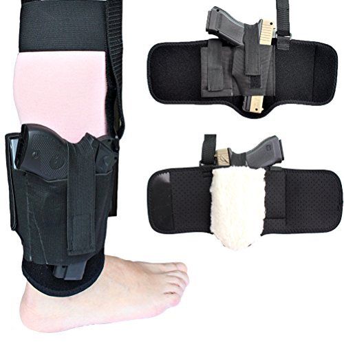 Non-slip-Ankle-Holster-with-Sheepskin-Padding-for-Concealed-Carry-Neoprene-Ankle-rig-with-MAG-Pouch-Calf-Retention-Straps-for-for-Women-Men-Fits-Small-to-Medium-Frame-Pistols-and-Revolver
