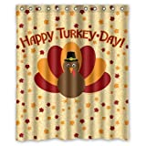 abigai Thanksgiving Happy Turkey Day Waterproof Bathroom Fabric Shower Curtain 72' x 72'