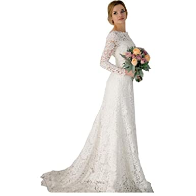 085c14f91c8 DingDingMail Romantic Lace Mermaid Wedding Dresses Long Sleeves Backless  Vintage Wedding Dresses Bridal Dresses at Amazon Women s Clothing store