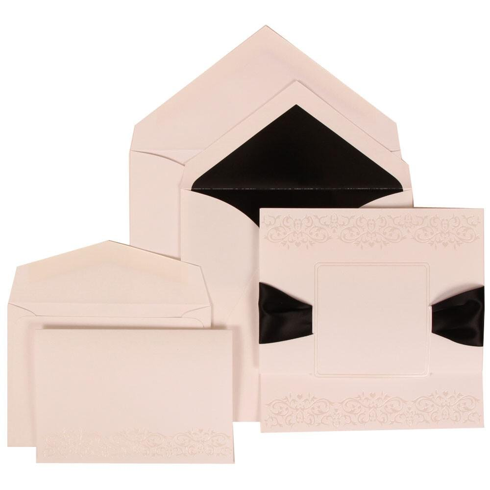 JAM Paper Wedding Invitation Combo Sets - 1 Small & 1 Large - White Card with Black Lined Envelope with Black Ribbon - 150/pack