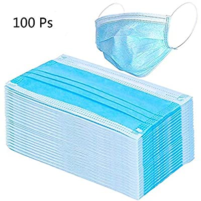 shamrock58 100PCS Blue Disposable Three-Layer Masks with Earloops,Face Wind and Dust Protection Sanitary Masks,Protect Yourself Against Dust Pollen Allergens