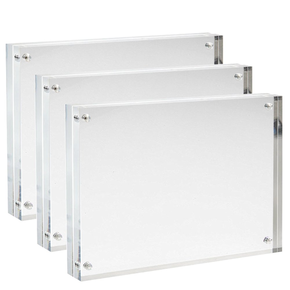Sooyee 3 Pack 4X6 Acrylic Frames, Clear,Magnetic Photo Frame, Double ...