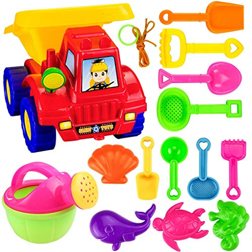 Nivalkid Beach Toys Deluxe Playset for Kids Childrens' Toys Set Sand Large Hourglass Dredging Shovel Bucket Tool- 14 pieces Large Dump Truck Sand Shovel Set (Assorted Colors) (AS Show)]()