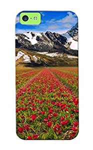 New Style Runandjump Hard Case Cover For Iphone 5c- Mountains Sky Flowers Field Landscape