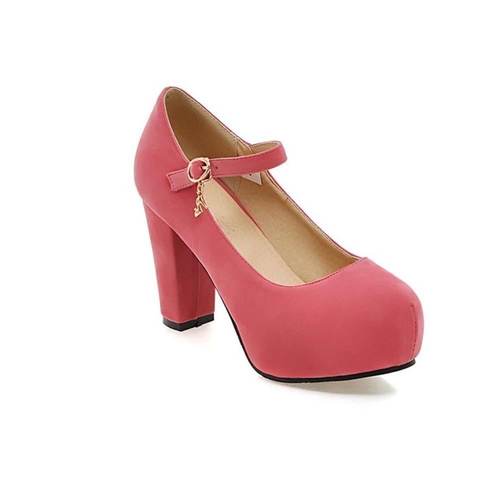 QPYC Damen Ein Wort Schnalle Einfache Flacher Peeling Flacher Einfache Mund Einzelne Schuhe Raue Ferse Wasserdichte Tai High Heels Große Größe pink 950a63