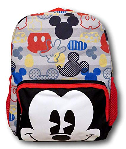 Disney Mickey Mouse Big Face 12 inch All Over Toddler Size Backpack     ]()