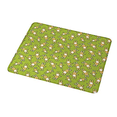 (Personalized Mouse Pad Anime,Kids Toy Rabbits Pattern on a Green Background with Doodle Carrots,Apple Green Yellow and White,Customized Desktop Laptop Gaming Mouse Pad 9.8