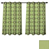 RuppertTextile Mid Century Blackout Thermal Curtain Panel Atomic Form with Boomerang Details Dots and Crossed Lines Patterned Drape for Glass Door Apple Green Plum Bondi Blue W72 x L72 inch