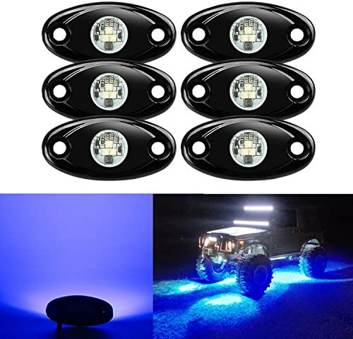 6 Pods LED Rock Lights, Ampper Waterproof LED Neon Underglow Light for Car Truck ATV UTV SUV Offroad Boat Underbody Glow Trail Rig Lamp (Blue)