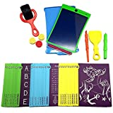 Magic Sketch Deluxe Kit | LCD Writing Board, Drawing, Doodle, Learning Tablet | Includes Protective Cover, 60 Stencils, 4 Styluses, 1 Stamp Roller & 3 Stamps | Kids, Office, School, House, Car Rides