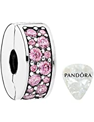 PANDORA Clip Shining Elegance with Fancy Purple Cubic Zirconia and Silicone Grip Charm, Two Piece Bundle, with...