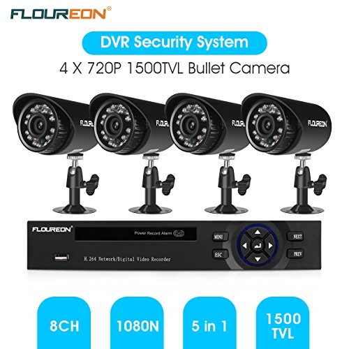 FLOUREON 8CH House Camera System DVR 1080N + 4 Outdoor/ Indoor Bullet Home Security Cameras 1500TVL HD Resultion Night Version for House/ Apartment/Office (8CH+1500TVL)