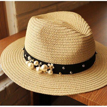 58cm La De Blanco M Marea Verano Femenino Sombrilla sombrero Paja Zhangyong Manualmente 56 En Pearl Playa Sombreros Jazz Spring wTUW8B5q5R