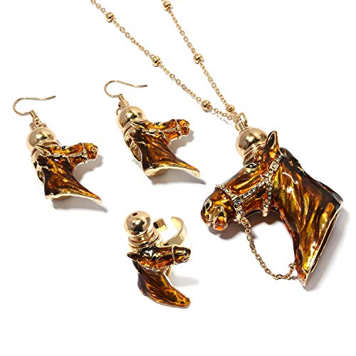(Shop LC Delivering Joy Blue Crystal Enameled Goldtone Horse Head Ring Size 5 Earrings and Necklace Set 28-31