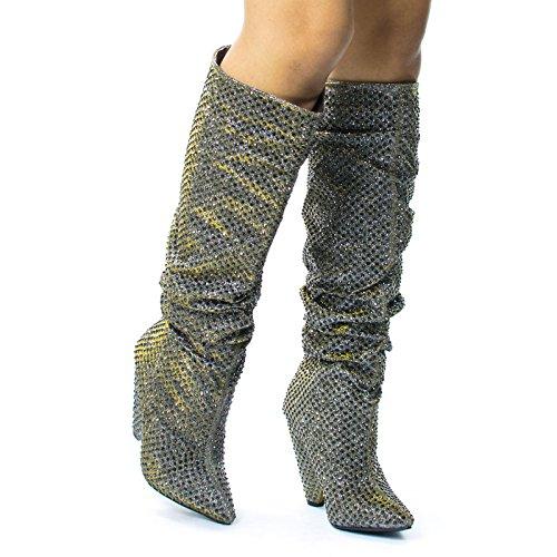 Bambus Retro Rhinestone Forskjønnet Glitter Støvlene På Kjeglen Avsmalnende Hæl Tinn