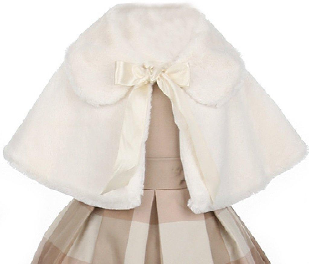 Flower Girl Jacket Super Cute Faux Fur Cape & Satin Tie for Big Girl Ivory 12 SC.12K