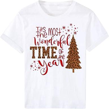 Camisetas Mujer Navidad Casual Moda Navidad Impresión Camisetas Manga Corta Tops Invierno Basica Cuello Redondo Blusa Verano Camisa Fiesta T-Shirt Original Sudadera Jersey Suéter vpass: Amazon.es: Ropa y accesorios