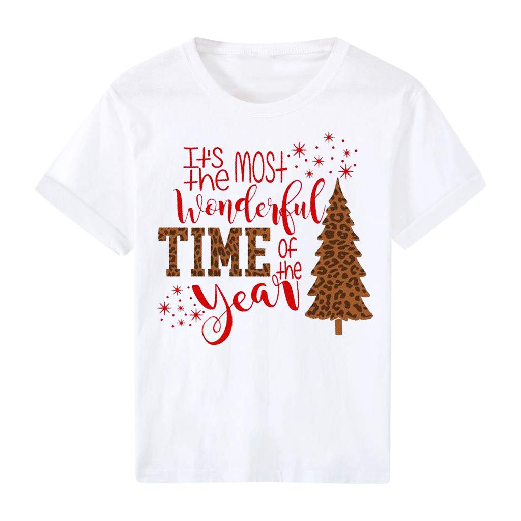 ☁ Janly Womens Tops ☁ Women Letter Printing Tee Christmas Lady Short Sleeve Buttoming T-shirt Xmas O-Neck T-Shirt Tunic Blouse Tops Sale