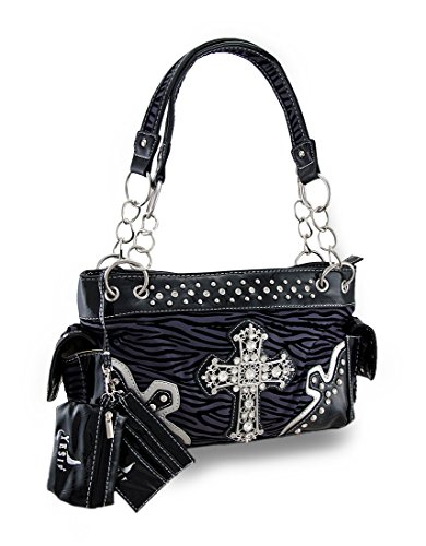 (Flocked Zebra Stripe Filigree Rhinestone Cross Studded)