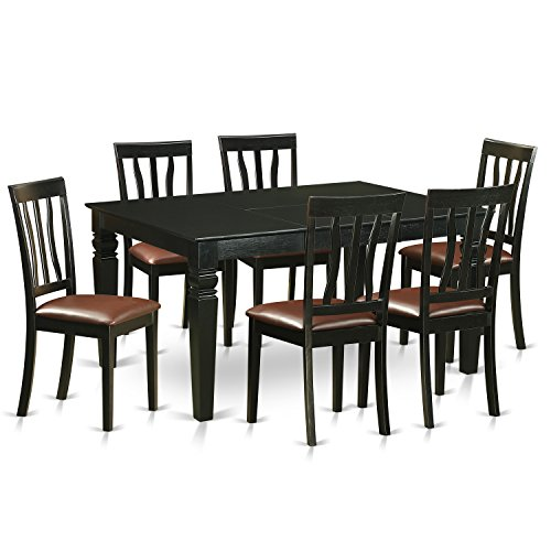 East West Furniture WEAN7-BLK-LC 7 Piece Kitchen Dinette Table and 6 Chairs