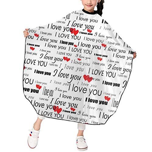 JinSPef Romantic I Love You with Hearts Romance Barber Salon Cape Apron for Styling Hair Cut Hairdresser Profession Barbershop Supplies Bib Kit Child Kids 39 X 47 in (Romance Bib)