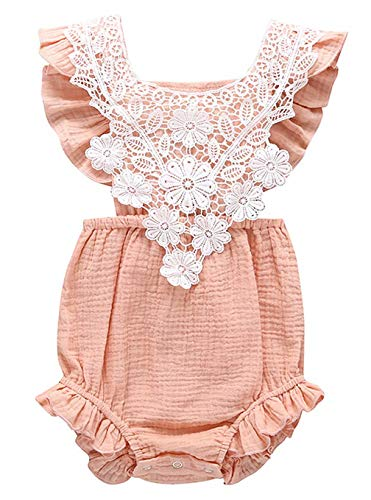 EGELEXY Toddler Baby Girl Ruffled Romper Jumpsuit Summer Lace Sleeveless Bodysuit Sunsuit Princess Clothes Size 6-12 Months/Tag73 -