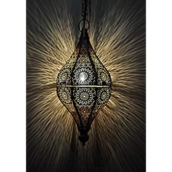 Lalhaveli Golden Color Pendant Hanging Lamp Living Room Decorations 13 x 6 Inch