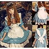 Alice style Maid Costume Cosplay Halloween costumé costume vêtements caractère marchandises Disney Party blanc poche de lapin collier pendentif montre de Gothic Lolita (bleu clair)