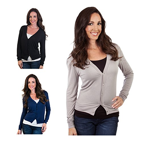 3 Pack - Agiato Women's Button Front Short Cardigan Variety