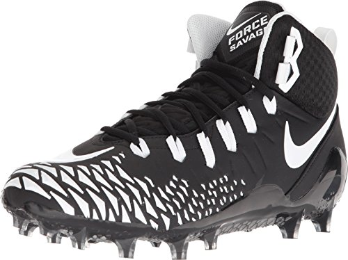 Nike Men's Force Savage Pro Football Cleat Black/White Size 11.5 M US (Football Cleats Nike)
