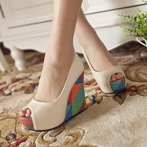 Ajunr Moda/elegante/Transpirable/Sandalias Ajunr Moda/elegante/Transpirable/Sandalias La y el verano pendiente tacones Tacones altos zapatos zapatos de mujer superficial boca impermeable zapatos de pl Beige