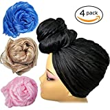 head scarves for women - Stretch Head Wrap - Long Black Head Wrap Turban Hair Scarf Tie Color 1pcs (4Aset)