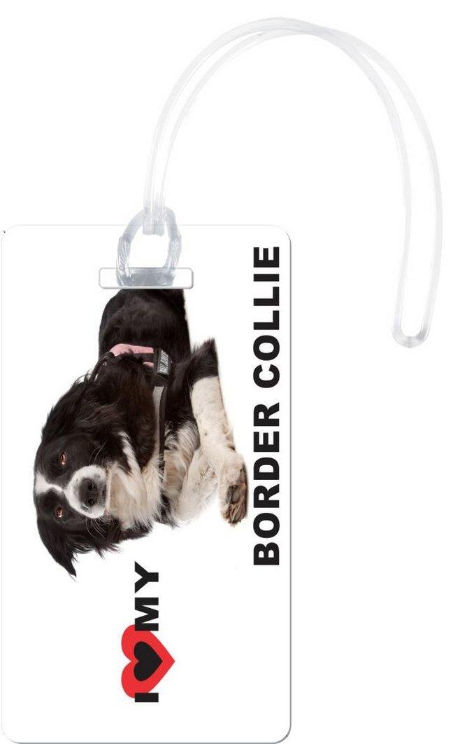 Rikki Knight I Love My Border Collie Dog Design Flexi Luggage Tags, White