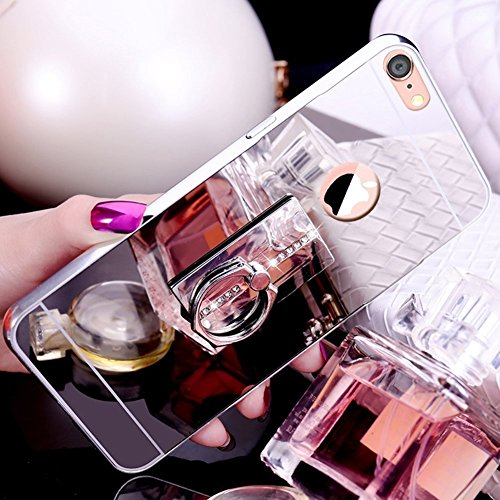 pour étui Ekakashop de Clair Miroir Mirror Scintillante iPhone Coque Anti Poudre Cristal Brillant Clear Strass Luxe Plus Silicone Carré Shiny Paillettes 8 7 Cover et Scr Argent Bling Coque Strass de Plus Argent iPhone Carré UqBxXqfz