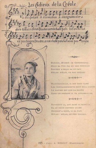 Song Card Music Les Adieux de la Creole Hatian Woman Antique Postcard J77647