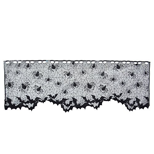 Topbuti Lace Lampshades Topper, 60x19 Halloween Black Lamp Shades Cover Lamp Shade Topper, Fireplace Mantle Scarf, Door Window Curtain Valance Multifuntional Halloween Decorations Supplies ()