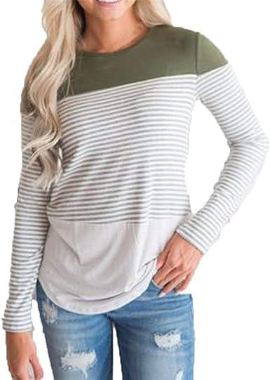 Levifun Mujer Manga Larga Casual Superior de Blusas Túnica Camiseta de Mujer Elegantes de Fiesta, Raya Labor de Retazos Suelto Manga Larga Superior Oferta Camisa Tops Blanca (XL, Verde): Amazon.es: Ropa y
