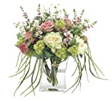 FAB Flowers Roses, Salvia, Peonies, Hydrangea, Catalpa Pods, Tied in Raffia, Glass Rectangular Vase, 22 Inches Length x 20 Inches High