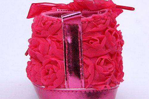 Bigood Chaussure Bébé Fille Princesse Rose Antidérapant Dentelle Lacet Rouge