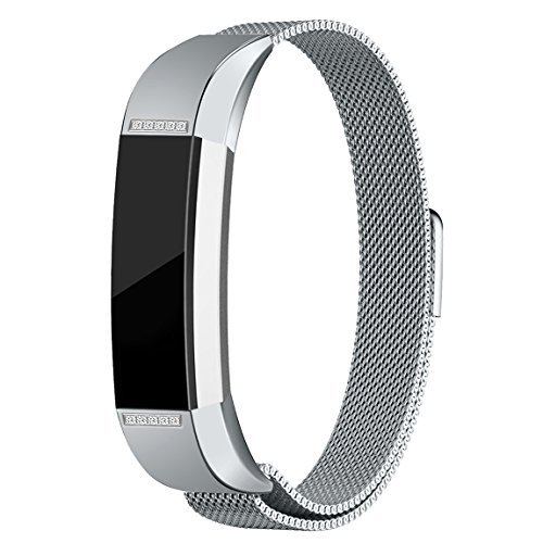 For Fitbit Alta HR and Alta Bands, Maledan Stainless Steel Milanese Loop Metal Replacement Accessories Bracelet Strap with Magnet Lock for Fitbit Alta HR and Alta Silver with White Diamond Small