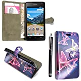 Huawei Y6 Case, Kamal Star® Premium PU Leather Magnetic Case Cover with ATM card and Note slots + Free Stylus (Butterfly Blue Book)