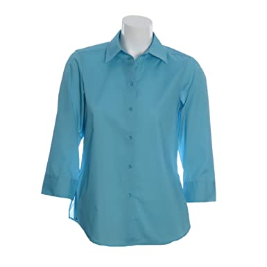 a5d74185 Foxcroft Woman's 3/4 Sleeve Solid Blouse Wrinkle Free (Caribbean, ...