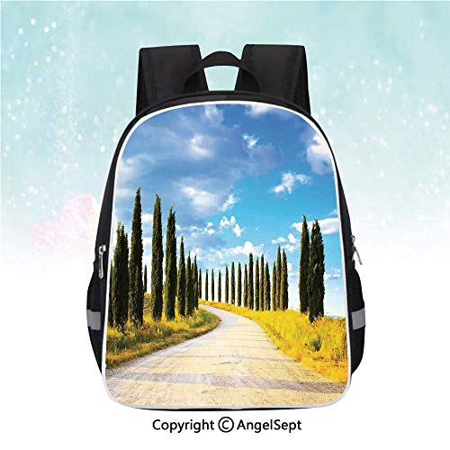Travel Backpack,View of an Earth Road Path between Trees Row in Mediterranean Historic Town Culture,13