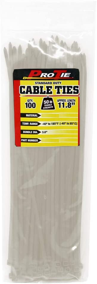 Pro Tie CFT11SD100 11-Inch Tan Nylon Standard Duty Cable Ties New 100-Pack