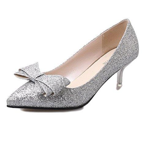 scarpe Fondono Delle Amoonyfashion on Tacchi Pompe Argento Donne Chiuse Materiali Pull TOzqS