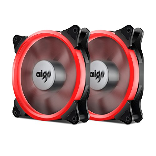 (Aigo Halo Ring Fan 140mm Case Fan Quiet Edition High Airflow Adjustable Color LED Case Fan for PC Cases, CPU Coolers,Radiators 4 Pin/3 Pin (140mm, 2 Pack Red))