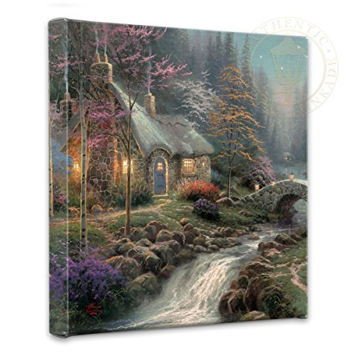Thomas Kinkade Cottage - Thomas Kinkade Twilight Cottage 14 x 14 Gallery Wrapped Canvas