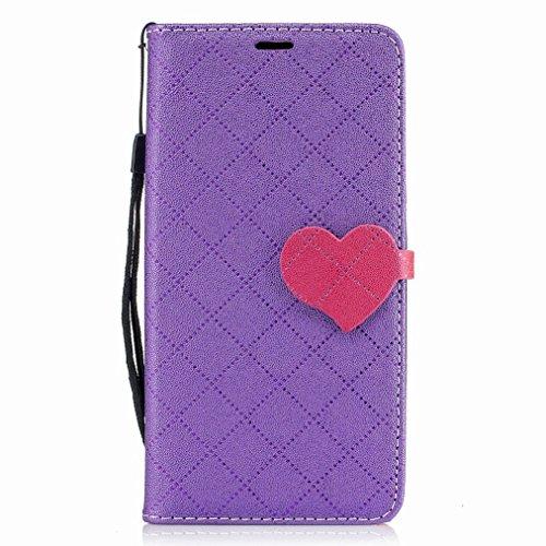 Yiizy LG K8 / LG Phoenix 2 / K350N Custodia Cover, Amare Design Sottile Flip Portafoglio PU Pelle Cuoio Copertura Shell Case Slot Schede Cavalletto Stile Libro Bumper Protettivo Borsa (Viola)