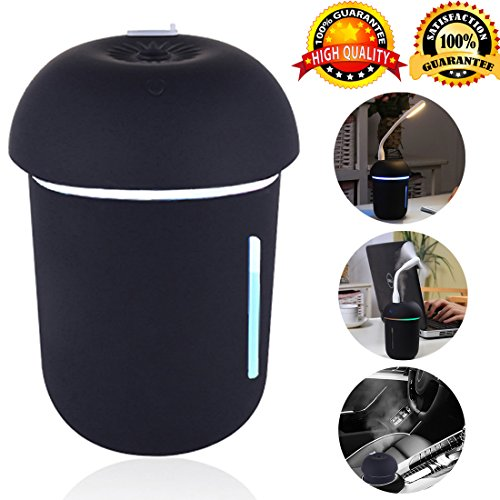 ZLOFADA Mist Humidifiers USB Powered Whisper Quiet Ultrasonic Water Bottle Humidifier - Superior Humidifying Unit with Whisper-Quiet Operation, Automatic Shut-Off, Night Light fan Function (black) by ZLOFADA